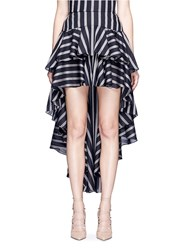 Caroline Constas 'Giulia' Stripe High Low Tiered Ruffle Skirt Multi Colour