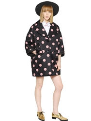 Vivetta Polka Dot Oversized Neoprene Coat Black Pink