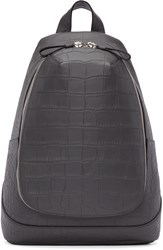 Alexander Mcqueen Grey Croc Embossed Leather Backpack