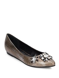 Kenneth Cole Reaction Bejeweled Point Toe Flats Pewter