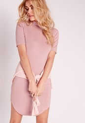 Missguided Short Sleeve Curve Hem Bodycon Dress Pink Purple