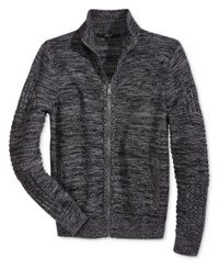 Guess Men's Dawson Marled Knit Full Zip Sweater Charcoal