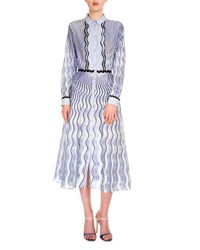 Mary Katrantzou Long Sleeve Wavy Print Shirtdress Blue