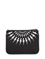 Neil Barrett Small Flashes Printed Nylon Pouch