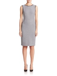 St. John Houndstooth Knit Sheath Dress Black White
