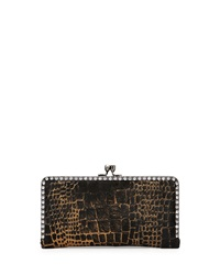 Franchi Camellia Croc Print Calf Hair Clutch Bag Black Copper