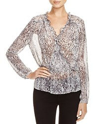 Guess Scarlett Printed Sheer Wrap Effect Blouse Grey