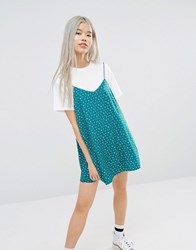 Style Nanda Stylenanda Oversized 2 In 1 T Shirt Dress With Cami Layer In Ditsy Floral Multi White
