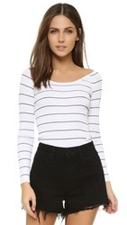 360 Sweater Rocky Barnes Collection Phuket Off Shoulder Sweater White W Black Stripes