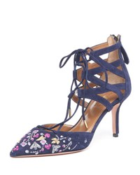 Aquazzura Belgravia Embroidered Suede Caged Pump Ink
