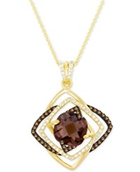 Le Vian Smoky Quartz 3 1 2 Ct. T.W. And White Topaz 1 4 Ct. T.W. Pendant Necklace In 14K Gold Yellow Gold