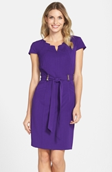Belted Stretch Sheath Dress Regular And Petite Grape