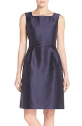 Women's Ellen Tracy Satin Fit And Flare Dress Navy