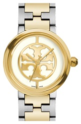 Tory Burch 'Reva' Logo Dial Bracelet Watch 28Mm Gold Silver