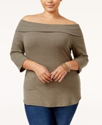 Monteau Trendy Plus Size Off The Shoulder Sweater Military
