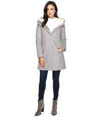 Cole Haan Striccato Wool Hooded Parka W Faux Fur Light Grey Melange Women's Coat Gray