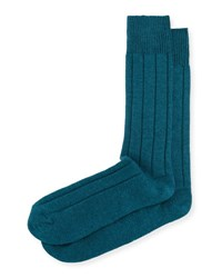 Neiman Marcus Cashmere Blend Ribbed Socks Dk Teal