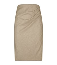 Max Mara Maxmara Gathered Side Wool Pencil Skirt Female Beige