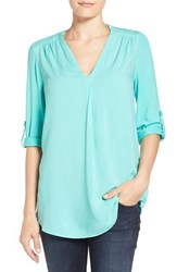 Women's Pleione Mixed Media V Neck Tunic Teal Ripple