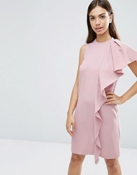 Asos Sleeveless Ruffle Front Shift Dress Pink