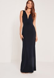 Missguided V Plunge Maxi Dress Navy Blue