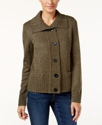Karen Scott Petite Marled Cardigan Only At Macy's Olive Marl