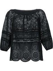 Marc By Marc Jacobs Broderie Anglaise Loose Blouse Black