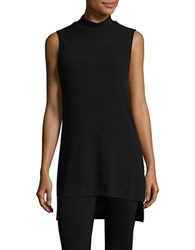 Splendid Mock Turtleneck Ribbed Sleeveless Shift Dress Black