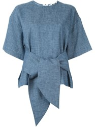 Msgm Knot Detail Shortsleeved Top Blue