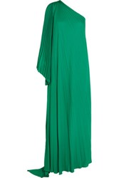 Halston Heritage One Shoulder Pleated Crepe Gown Emerald