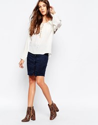 First And I Button Up Faux Suede Skirt Total Eclipse