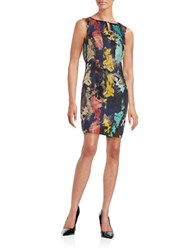 Ellen Tracy Jacquard Embellished Sleeveless Sheath Dress Navy Multi