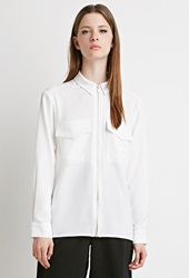 Forever 21 Collared Zipper Front Blouse Cream