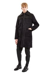 Opening Ceremony Suede Back Over Coat Black