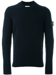 Stone Island Logo Patch Jumper Blue