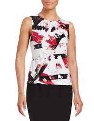 Calvin Klein Petite Abstract Print Pleat Neck Shell Red Multi