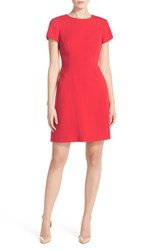Vince Camuto Petite Women's Stretch Crepe Fit And Flare Dress Red