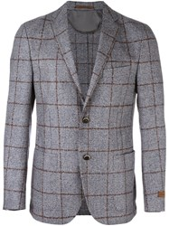Corneliani Checked Buttoned Blazer Grey
