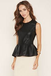 Forever 21 Faux Leather Peplum Top