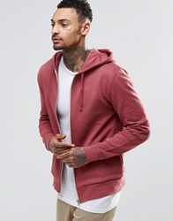 Asos Zip Up Hoodie In Red Washed Ruddy