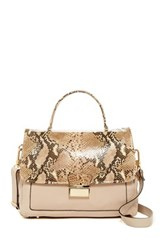 Abro Snake Print Detail Leather Satchel Beige