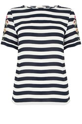 Oasis Formal Stripe Embroidered Tee Black White