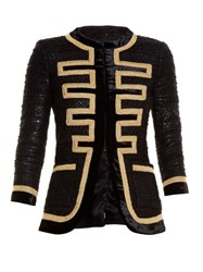 Givenchy Embroidered Edge Tweed Jacket Black Gold