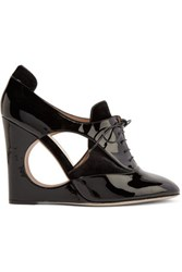 Valentino Velvet Paneled Patent Leather Wedge Pumps Black