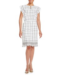 Lord And Taylor Embroidered Plaid Dress White