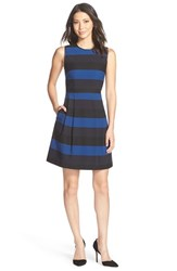 Women's Marc New York Stripe Twill Fit And Flare Dress