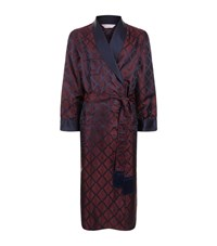 Derek Rose Verona Motif Silk Robe Male Red