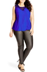 Plus Size Women's City Chic 'Dark Lace' Sleeveless Top Ultra Blue