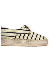 Tory Burch Striped Canvas Lace Up Espadrilles White