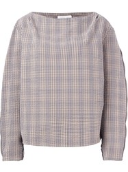 Christophe Lemaire Lemaire Checked Boat Neck Blouse Black